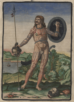 18th century illustration of a Pictish warrior